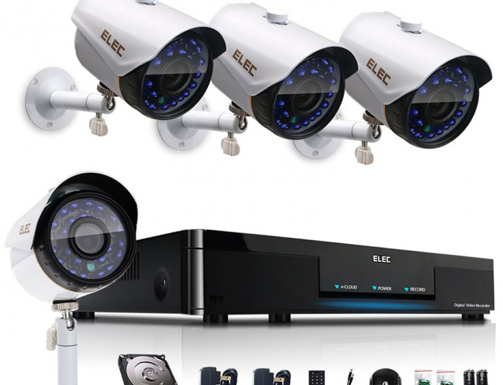 4 Channel DVR Kit | DVR with 500GB HD + 4X Day/Night Vision Bullet HD CCTV Cameras by ELEC