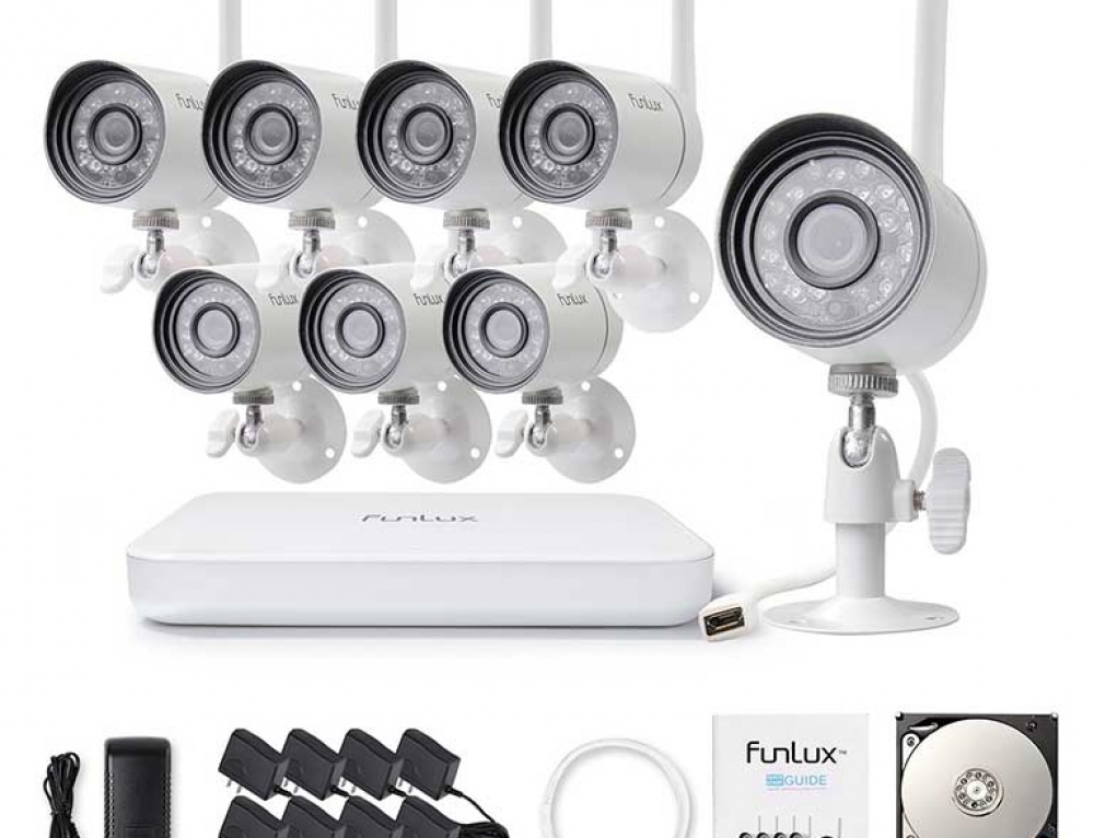 Professional (8) Camera Wireless Surveillance CCTV System by Funlux (ZM-KW2004-1TB)