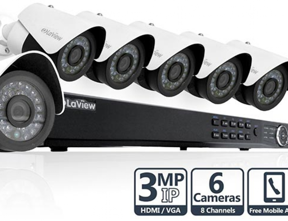 LaView 8 Channel Security System 6X 1080P 3MP IP Cameras