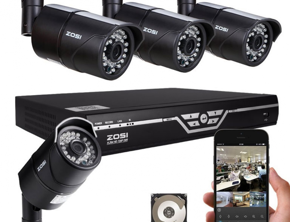 4 Channel HD DVR Kit with 4 indoor outdoor 720p cameras by ZOSI